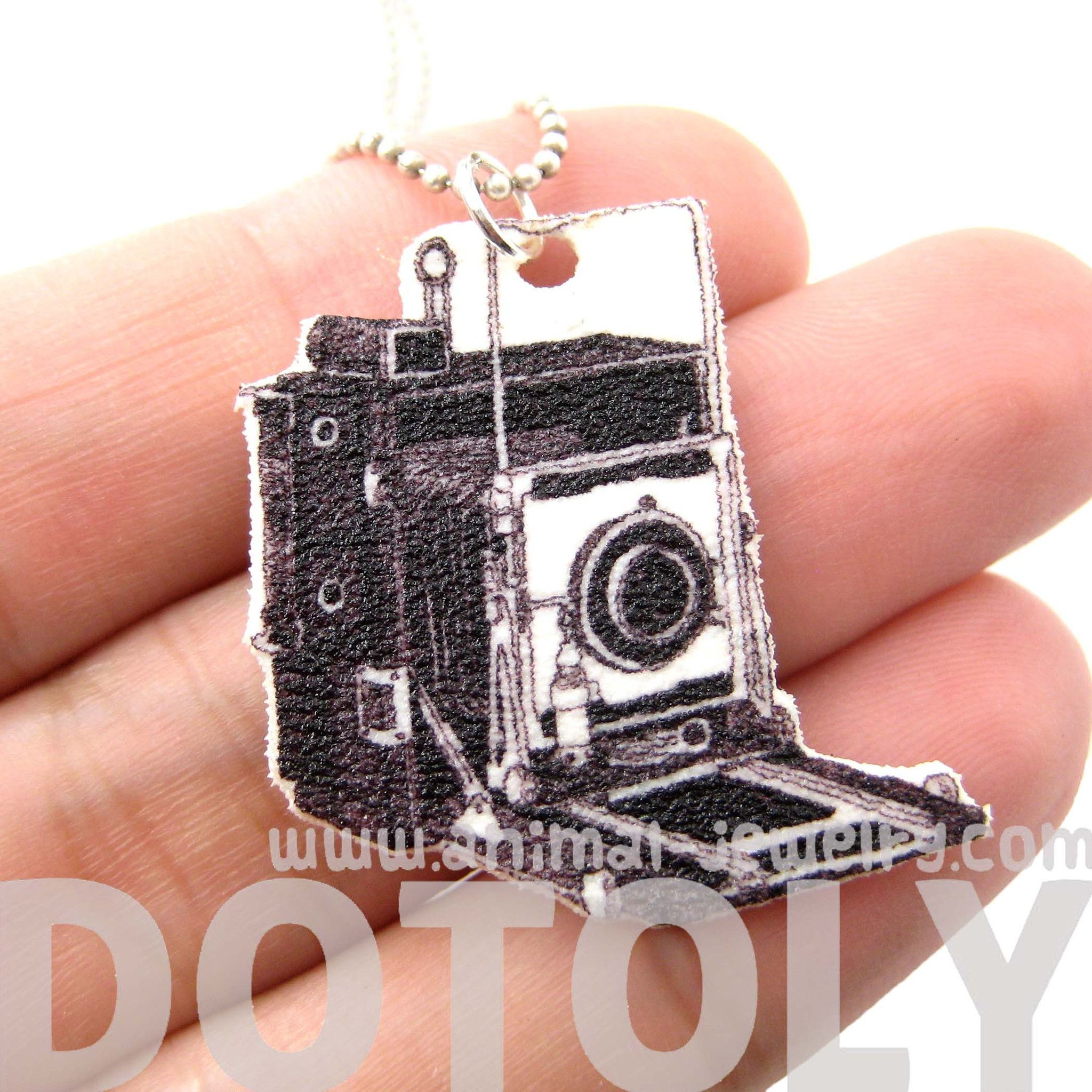 Vintage Camera Shaped Hand Drawn Pendant Necklace | Handmade