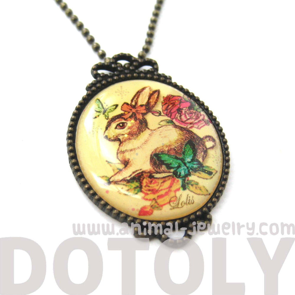 Vintage Inspired Bunny Rabbit Hare Illustration Pendant Necklace