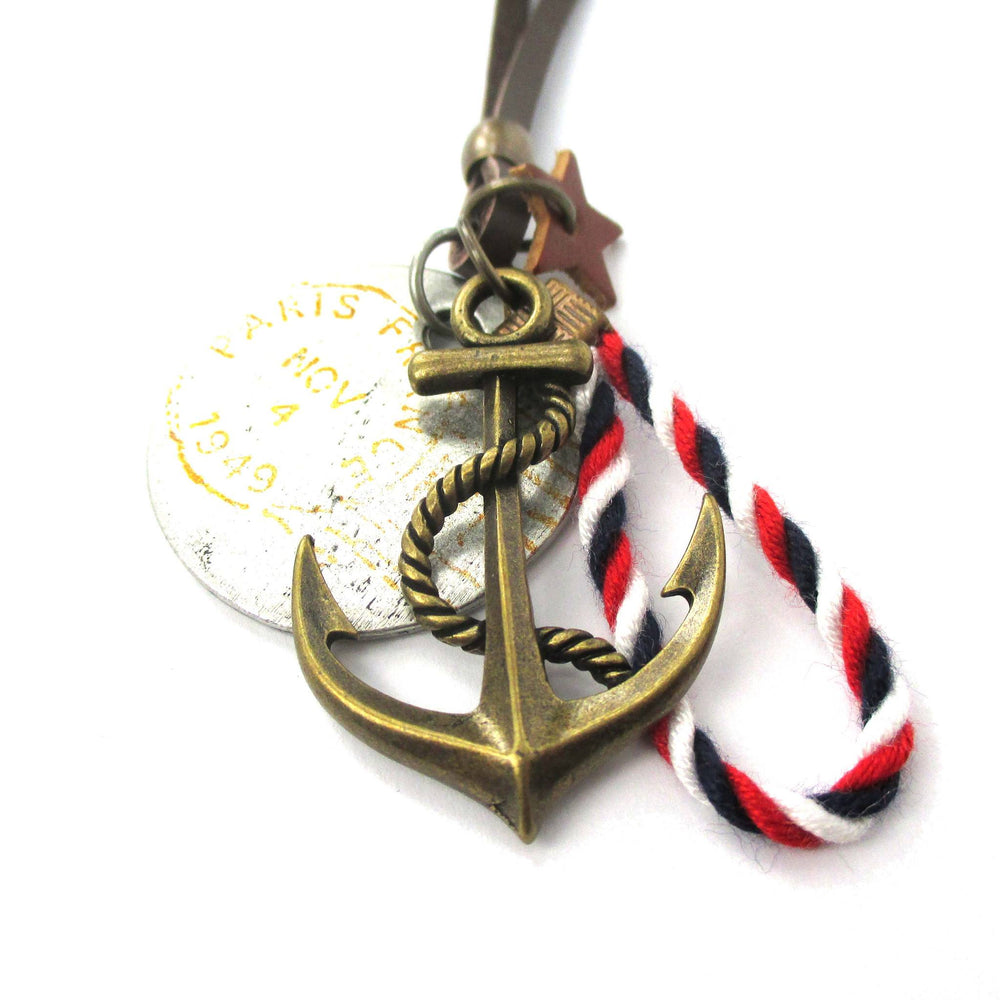 Vintage Nautical Themed Anchor and Coin Pendant Necklace in Brass