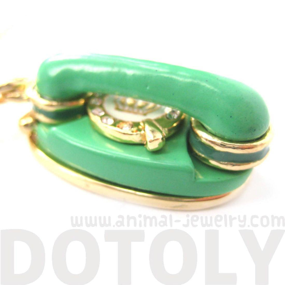 Vintage Rotary Telephone Pendant Necklace in Green | Limited Edition