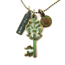 Vintage Skeleton Key Forever Charm Necklace in Brass
