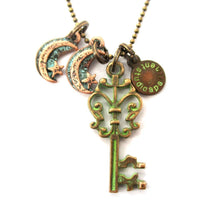Vintage Skeleton Key and Moon Charm Necklace in Brass