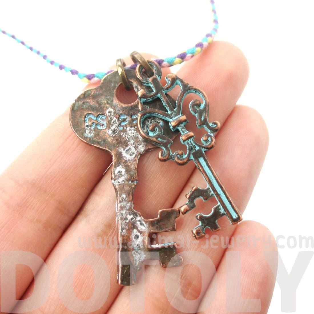 Vintage Turquoise Skeleton Key Charm Necklace in Brass | DOTOLY
