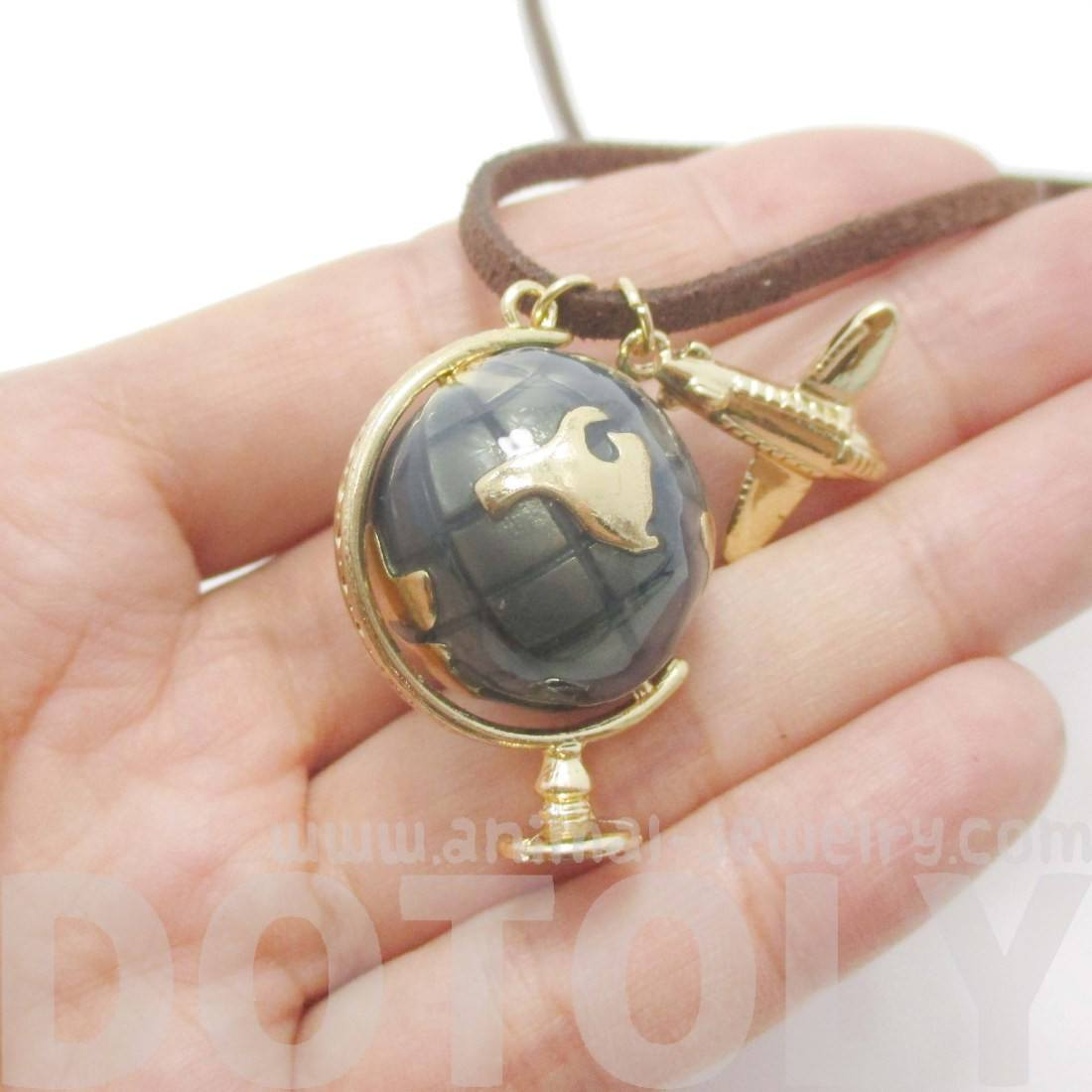 Vintage Style Earth Globe and Airplane Pendant Necklace