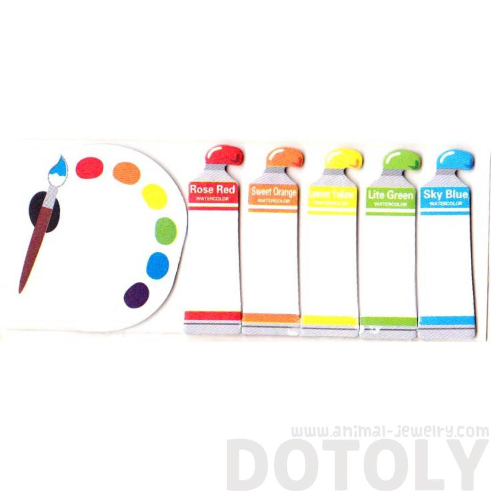 Watercolor Paints Shaped Back to School Themed Post-it Sticky Tabs