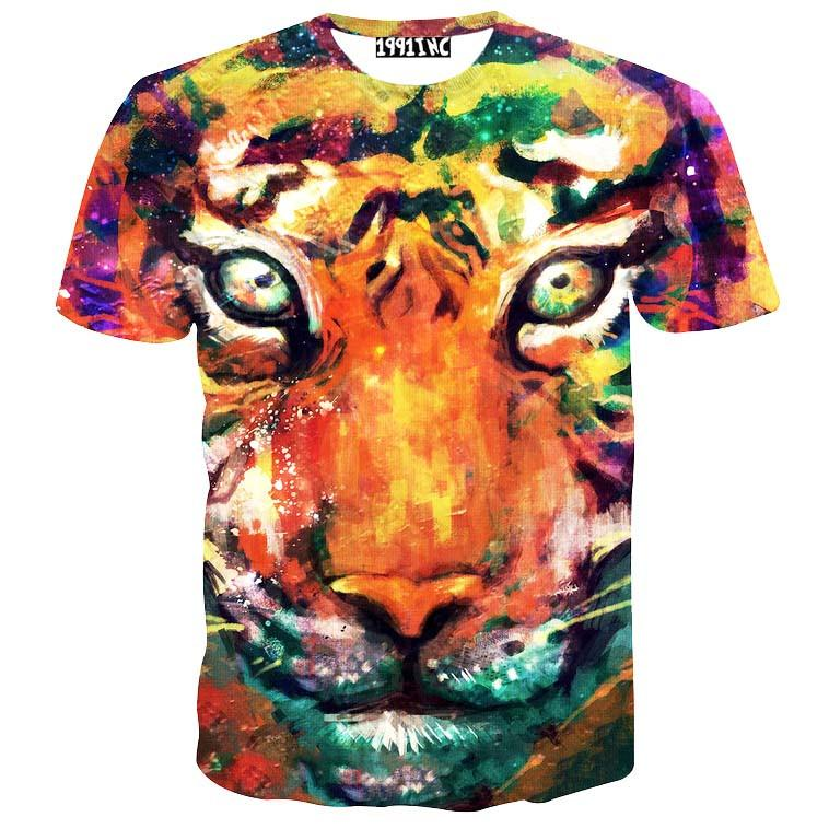 Watercolor Tiger Face Rainbow Print Graphic Tee T-Shirt