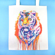 Watercolor Tiger Illustration Rainbow Canvas Shopper Tote Bag | DOTOLY