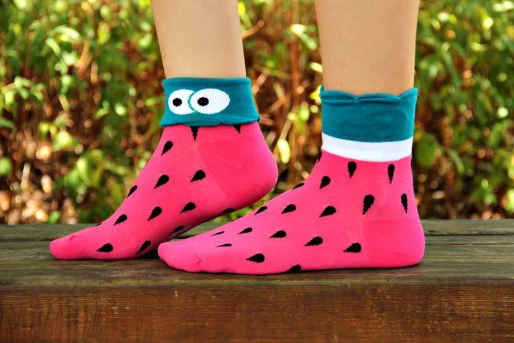 Watermelon Print Googly Eye Flip Short Cotton Socks for Women | DOTOLY | DOTOLY