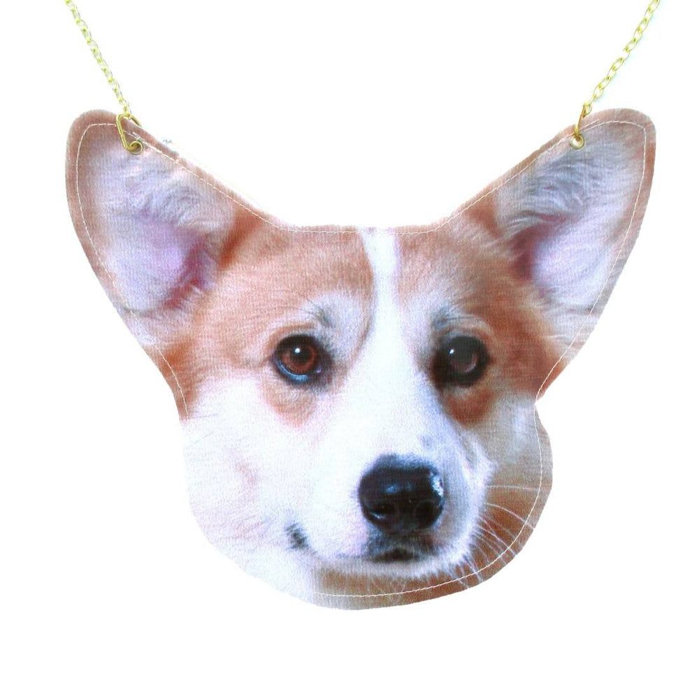 Cute Welsh Corgi Puppy Dog Face Shaped Vinyl Cross Body Shoulder Bag