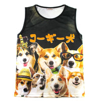 Welsh Corgis Making Funny Faces Graphic Print Oversized Tank Top
