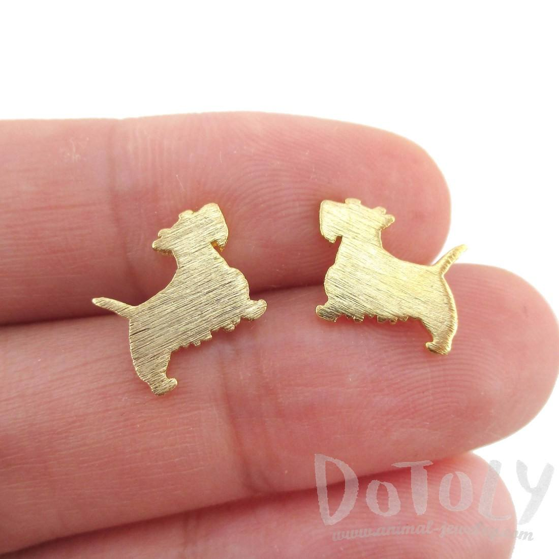 West Highland Terrier Dog Shaped Silhouette Stud Earrings in Gold