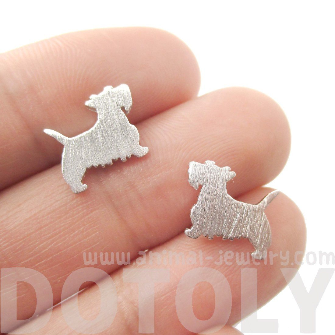 West Highland Terrier Silhouette Stud Earrings in Silver