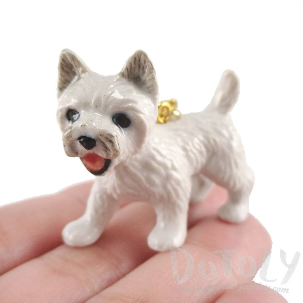 West Highland Terrier Westie Dog Porcelain Ceramic Pendant Necklace
