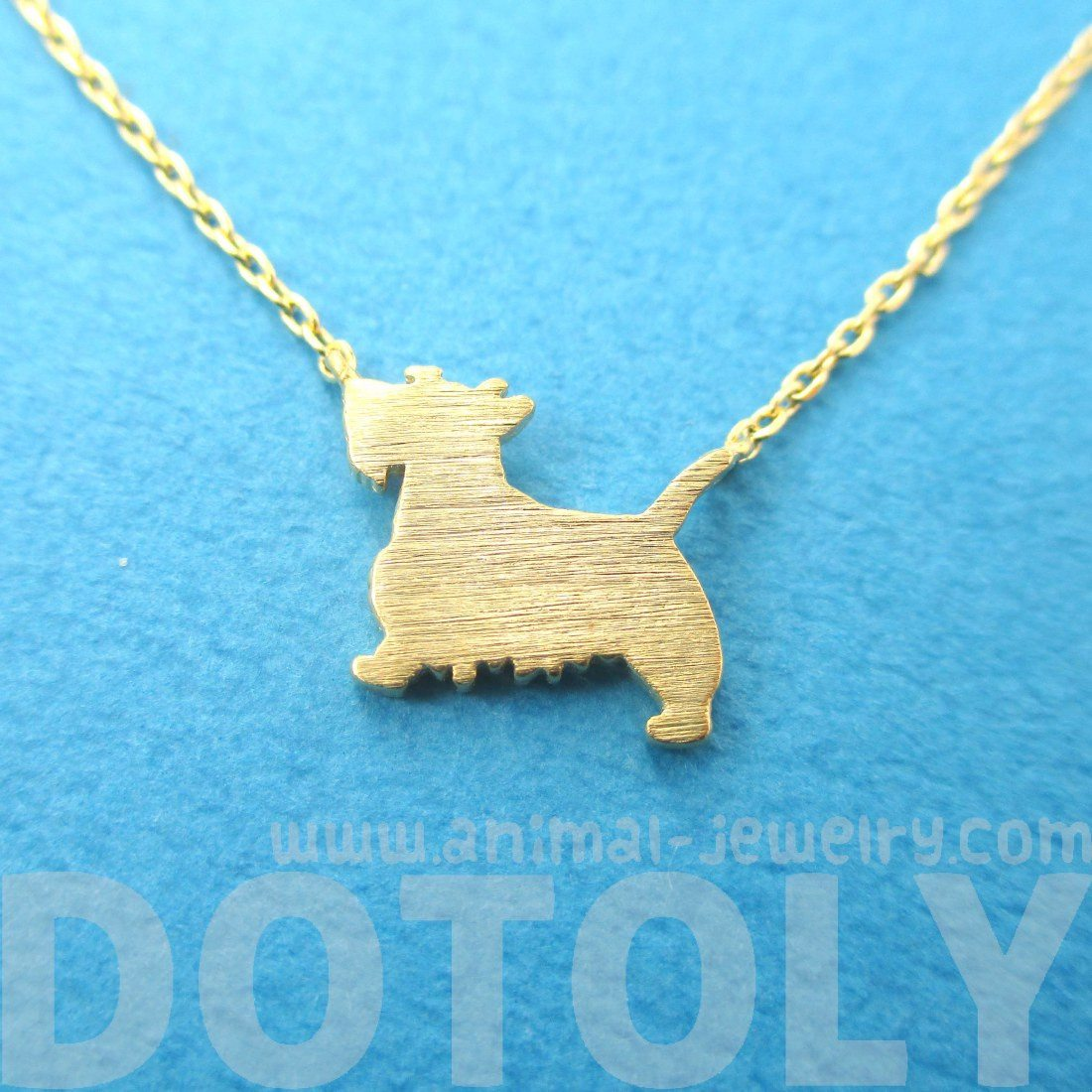 Scottish Terrier Dog Shaped Silhouette Necklace in Gold