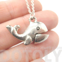 Whale Shaped Moveable Animal Charm Necklace in Silver | MADE IN USA
