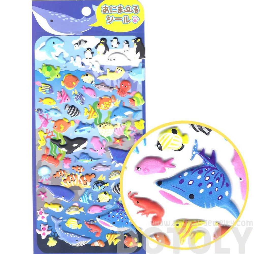 Whale Sharks Octopus Fish Turtles Shaped Sea Creatures Themed Puffy Stickers for Scrapbooking | DOTOLY