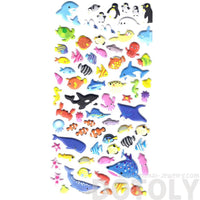Whale Sharks Octopus Fish Shaped Sea Creatures Themed Puffy Stickers