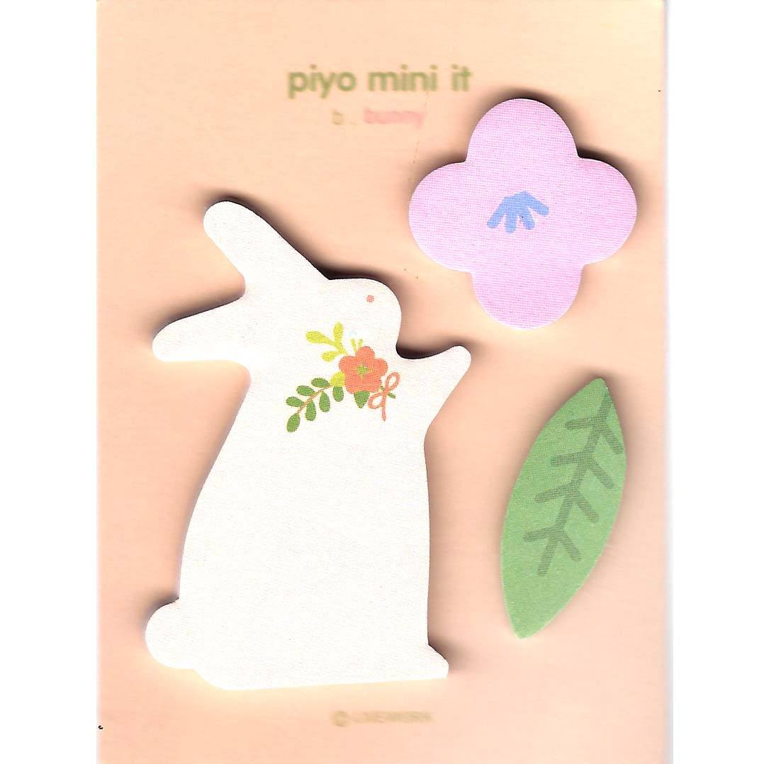 Whimsical Bunny Rabbit and Floral Shaped Memo Post-it Adhesive Notepad