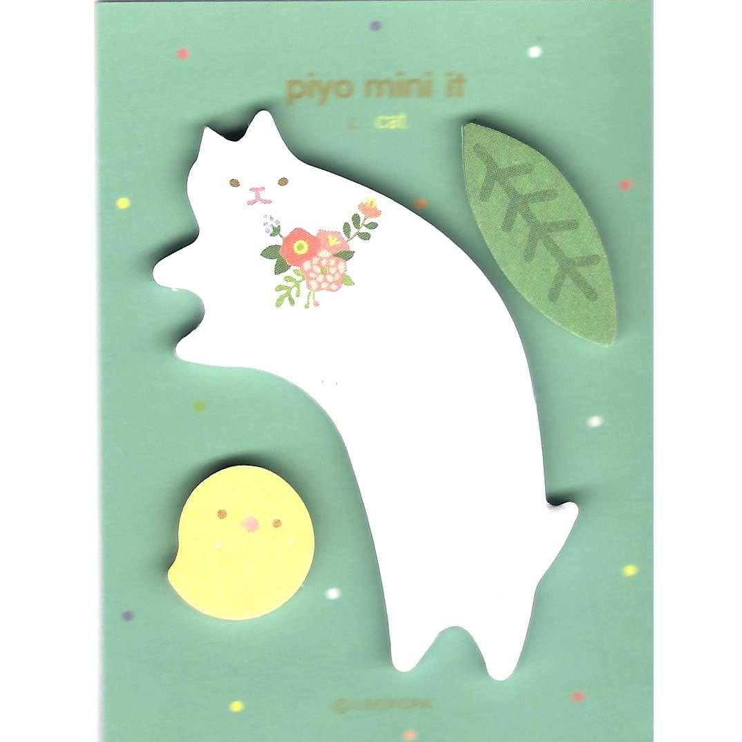 Whimsical Kitty Cat Bird and Leaf Shaped Animal Memo Post-it Bookmarks