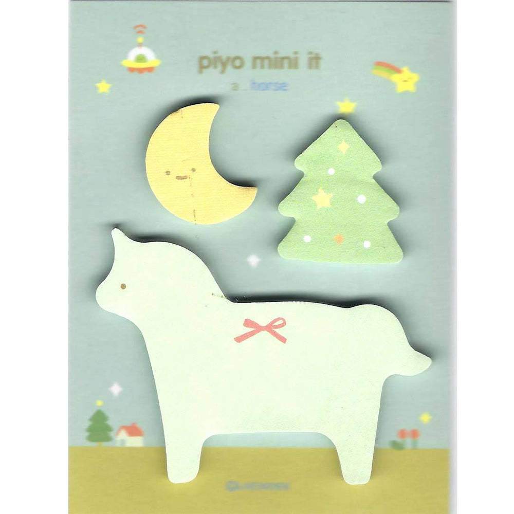 Whimsical Pony Horse Moon and Tree Shaped Memo Post-it Sticky Notepad