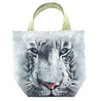 White Bengal Tiger Print Fabric Small Lunch Tote Bag