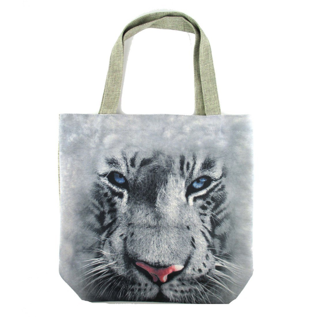 White Bengal Tiger Face Print Fabric Tote Shopper Bag