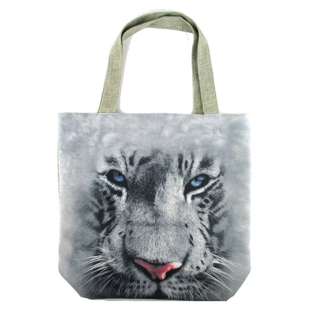 White Bengal Tiger Face Print Hemp Fabric Tote Shopper Bag | DOTOLY | DOTOLY