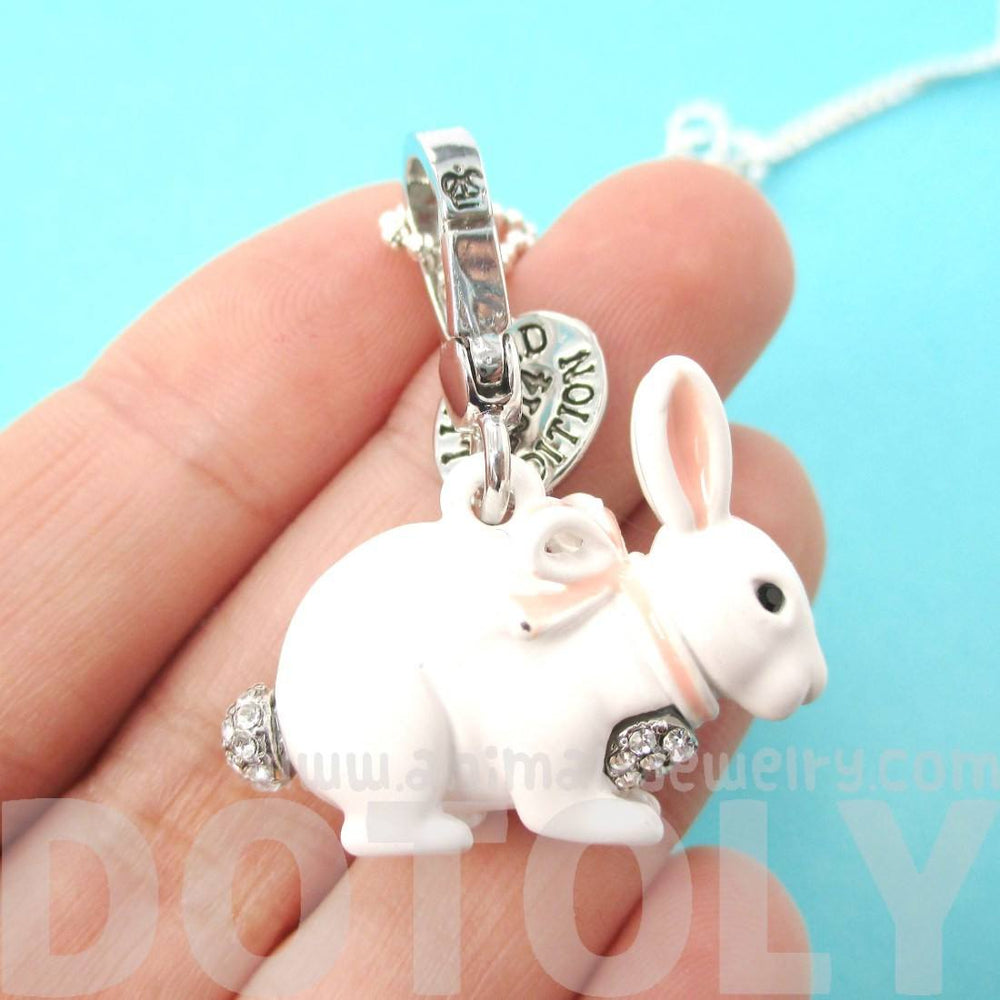 White Bunny Rabbit Shaped Animal Pendant Necklace