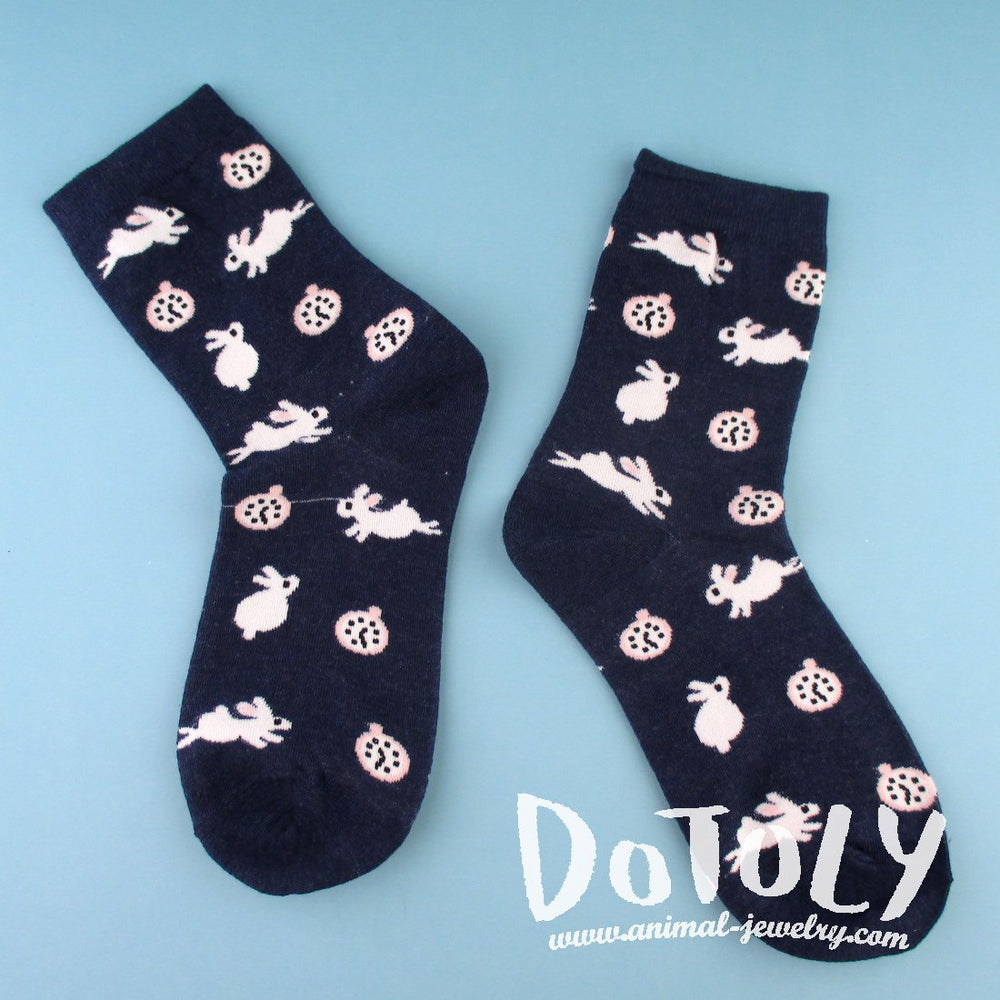 White Bunny Rabbits and Clock Patterned Cotton Socks in Navy | DOTOLY