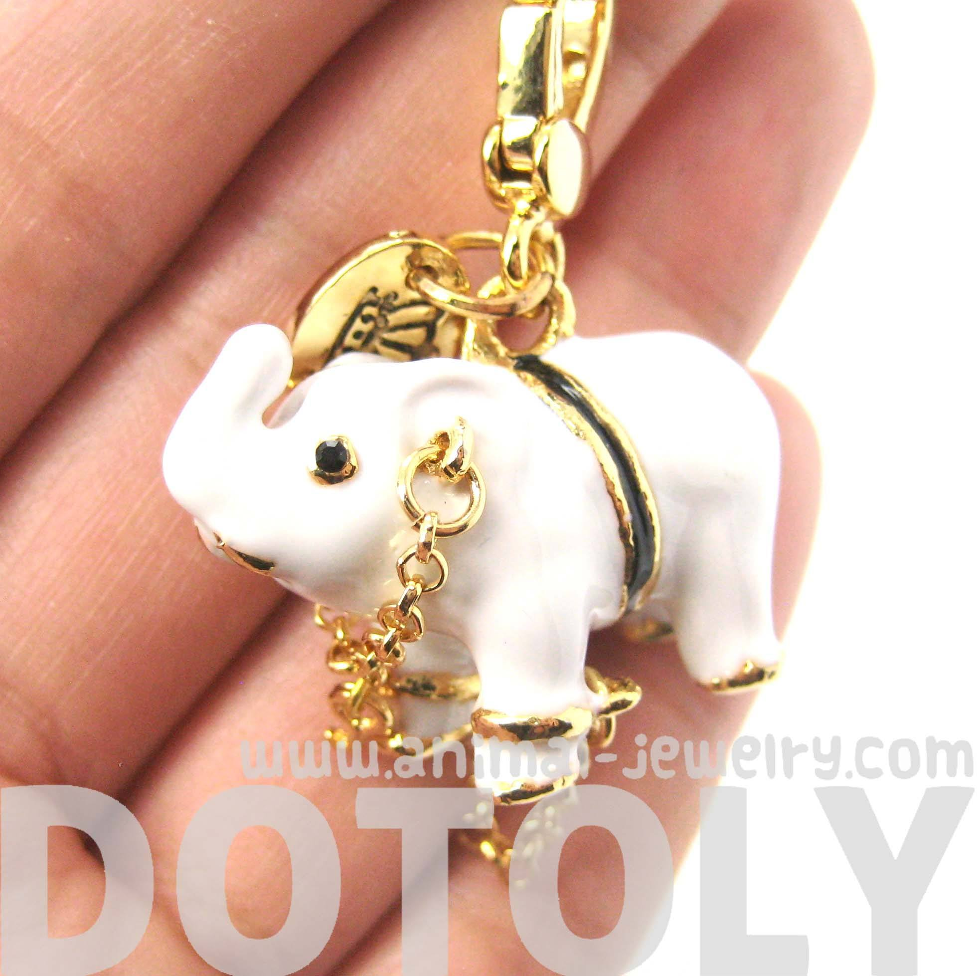 White Elephant Animal Pendant Necklace: Limited Edition Animal Jewelry