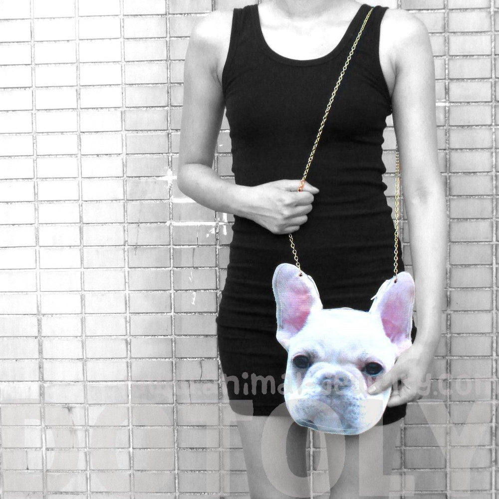 White French Bulldog Frenchie Dog Head Shaped Vinyl Cross Shoulder Bag