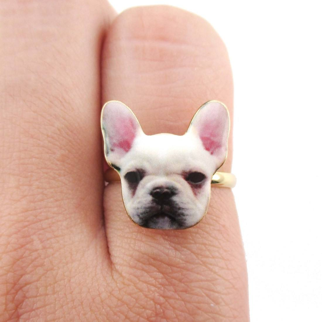 White French Bulldog Puppy Face Shaped Adjustable Ring | DOTOLY