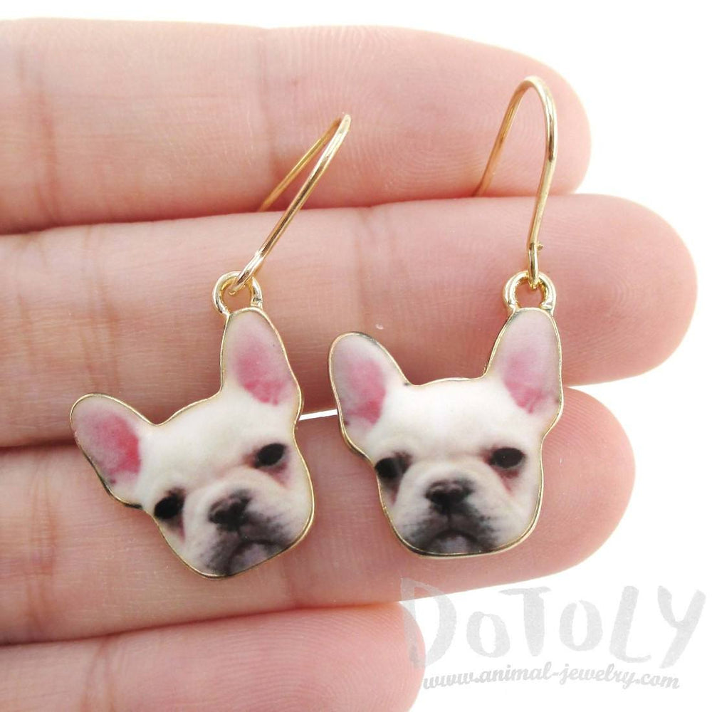 White French Bulldog Puppy Shaped Dangle Drop Earrings