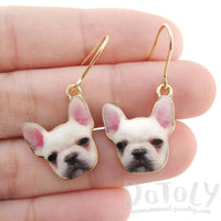 White French Bulldog Puppy Shaped Dangle Drop Earrings | Animal Jewelry | DOTOLY