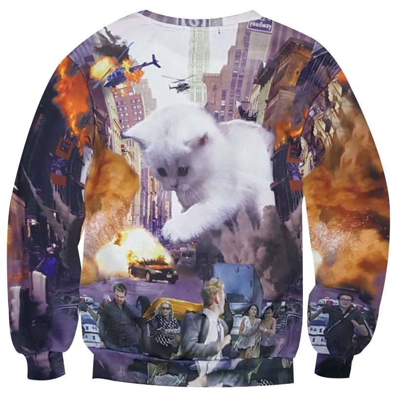 White Kitten Terrorizing a City All Over Graphic Print Sweatshirt