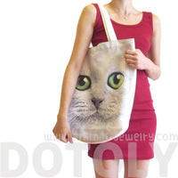 White Kitty Cat Face Print Hemp Fabric Tote Shopper Bag