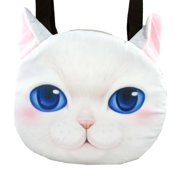 White Kitty Cat Face Shaped Large Shopper Tote Bag