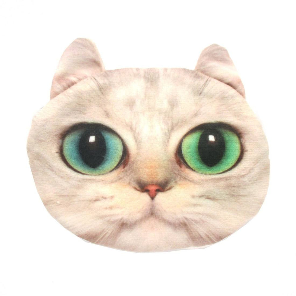 White Kitty Cat Face Shaped Coin Purse Make Up Bag with Green Eyes