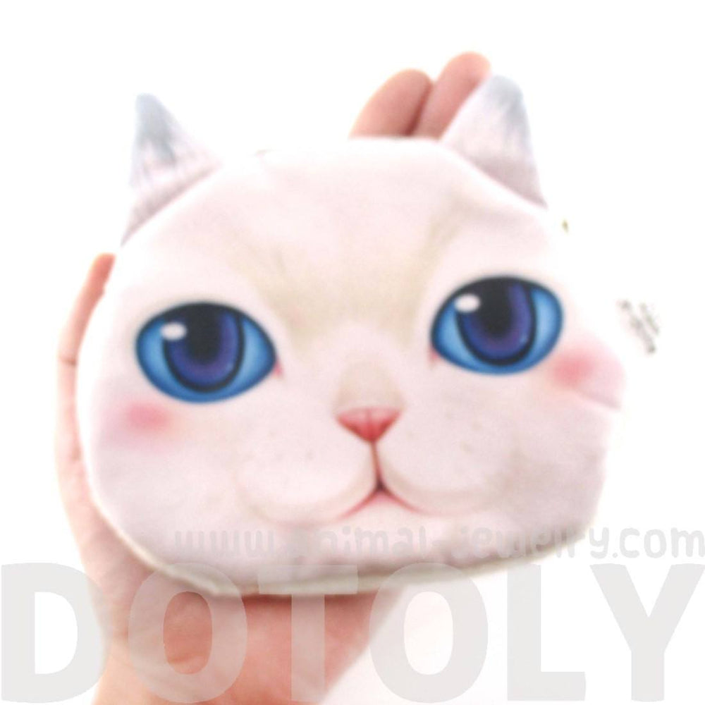 White Kitty Cat Face With Blue Eyes Shaped Coin Purse