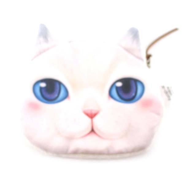 White Kitty Cat Face With Blue Eyes Shaped Soft Fabric Zipper Coin Purse Make Up Bag | DOTOLY