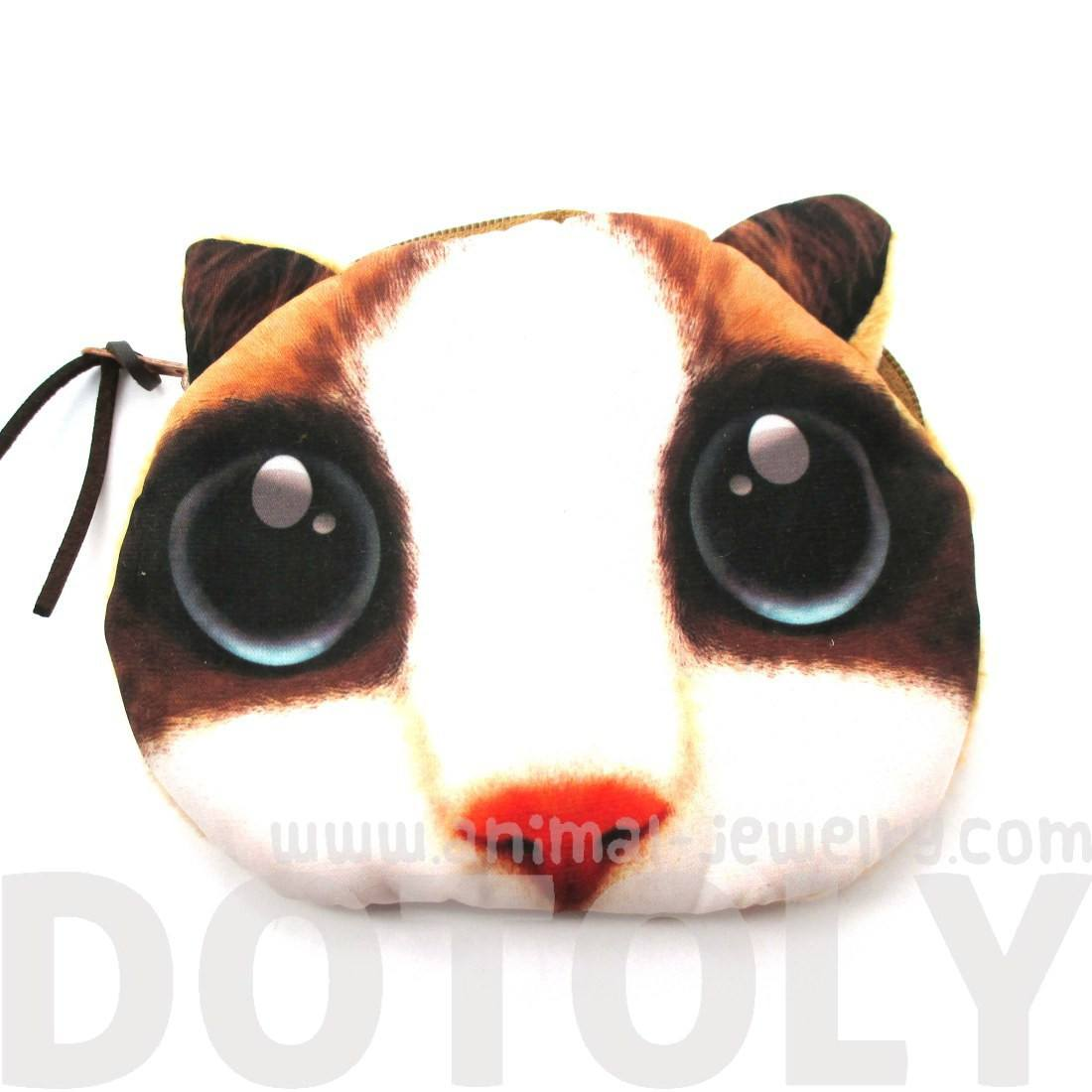 White Kitty Cat Face Huge Eyes Shaped Soft Fabric Zipper Coin Purse