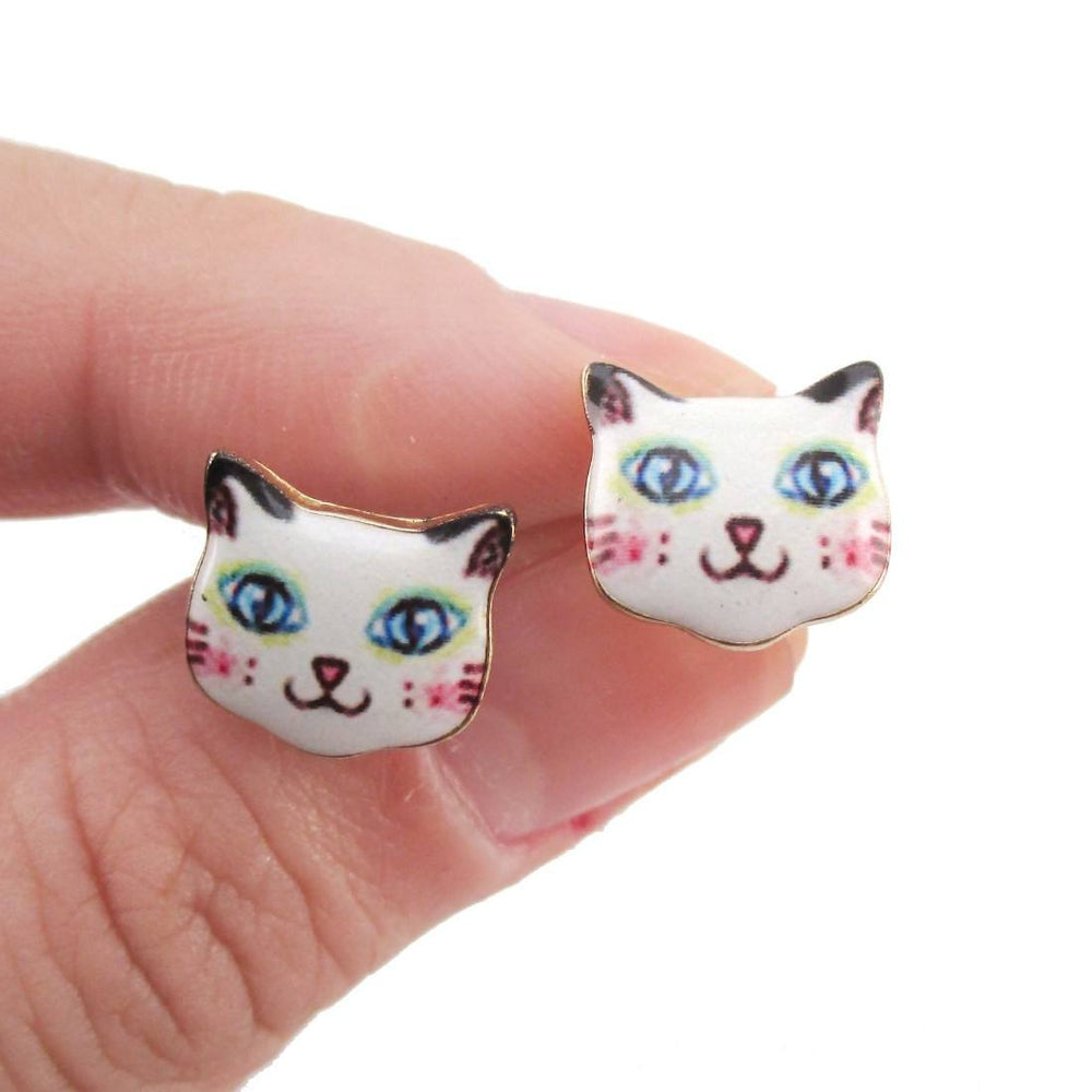 White Kitty Cat Hand Drawn Face Shaped Stud Earrings | Animal Jewelry