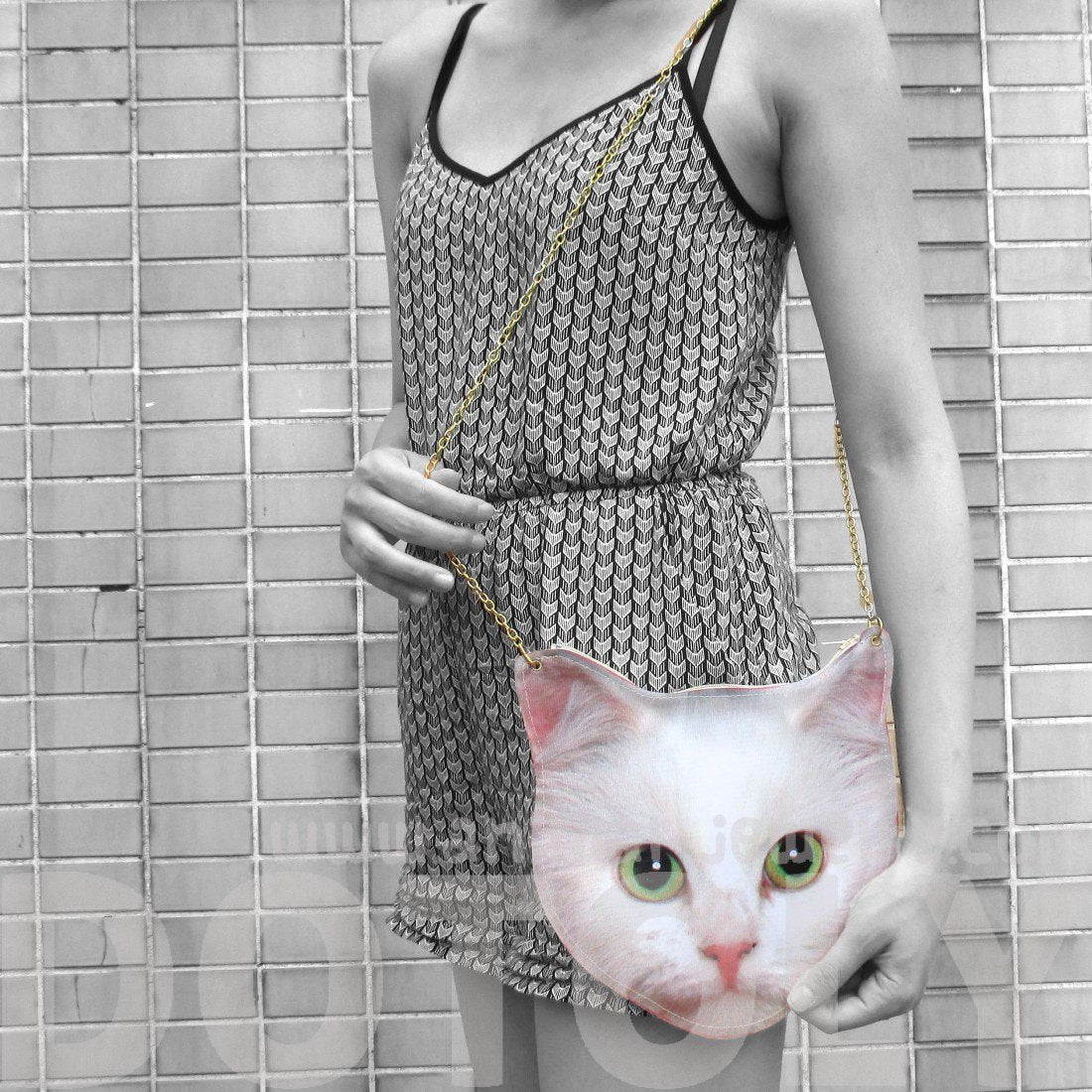 White Kitty Cat Head Shaped Vinyl Animal Photo Print Shoulder Bag