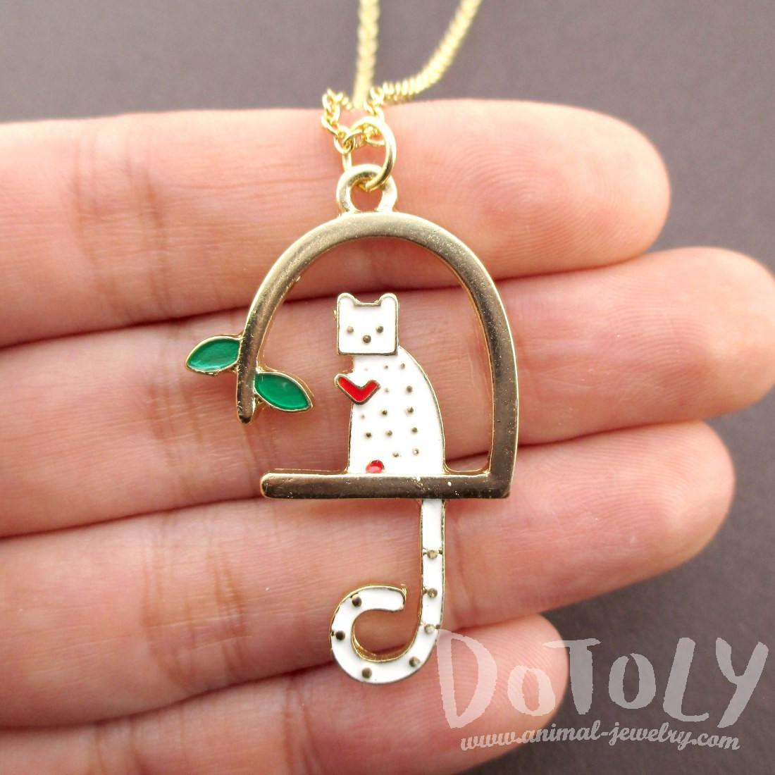 Kitty Cat Sitting in a Birdcage Shaped Pendant Necklace
