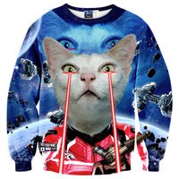 Star Wars Star Trek Cat Laser Beam Space Print Sweater