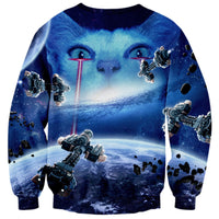 White Kitty Cat Star Wars Star Trek Laser Beam Space Universe All Over Print Sweater | DOTOLY