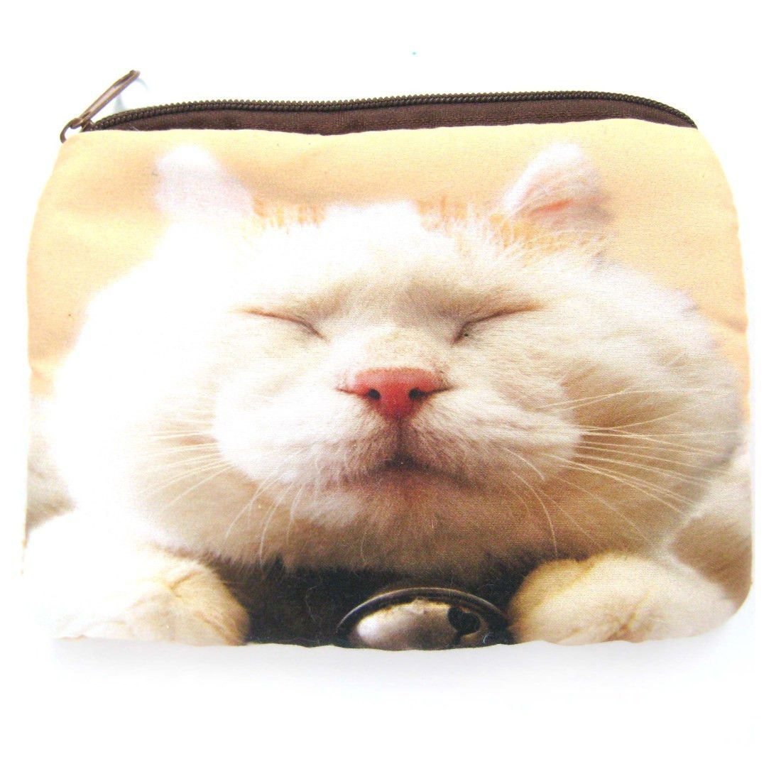 White Kitty Cat Tabby Face Digital Photo Print Coin Purse Make Up Bag