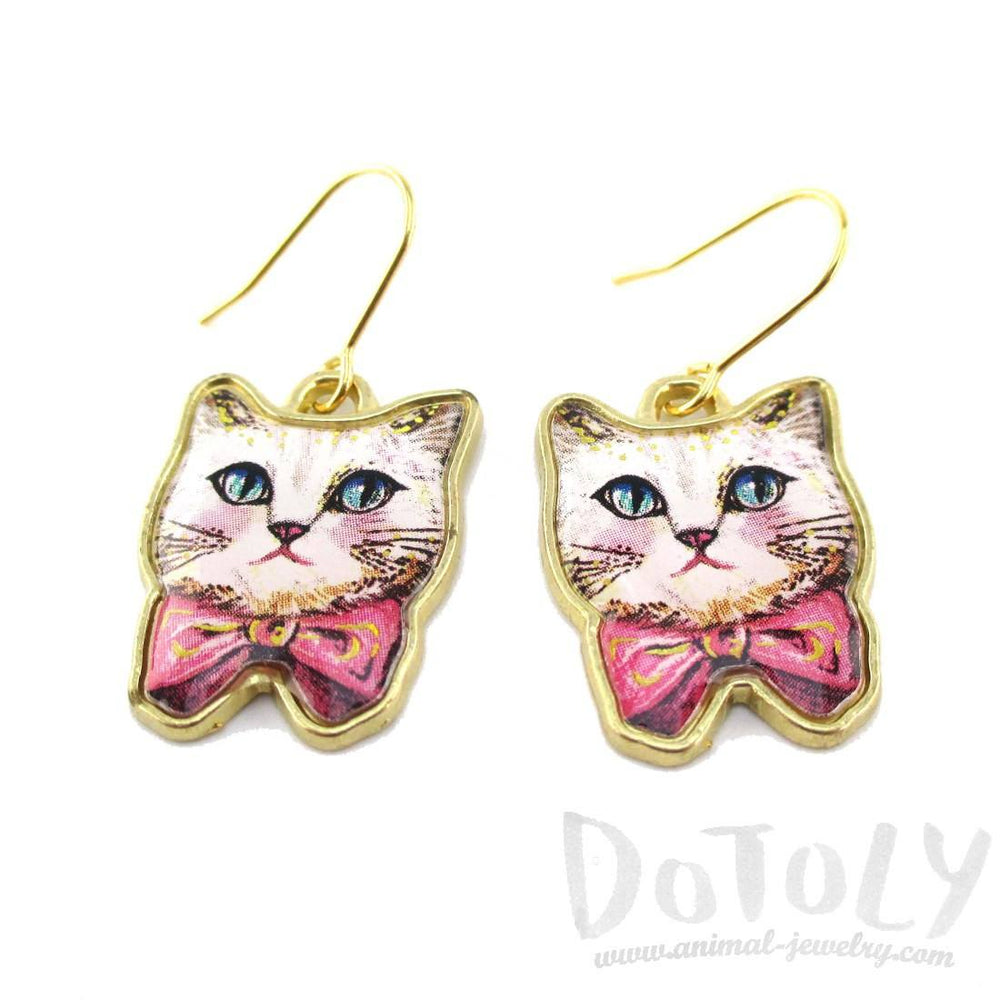 White Kitty Cat Wearing a Pink Bow Illustrated Dangle Earrings | DOTOLY