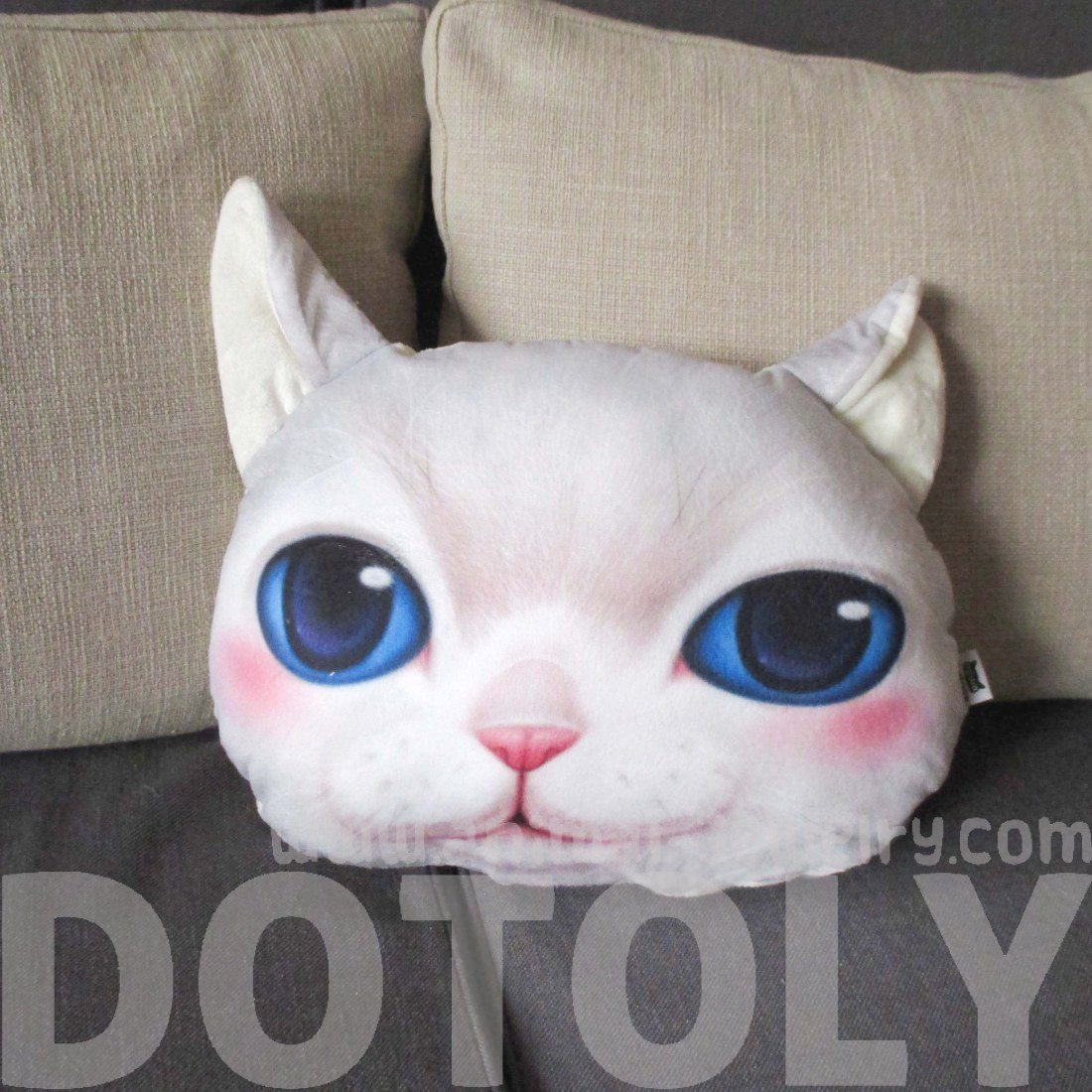 White Kitty Cat With Blue Eyes Face Shaped Pillow