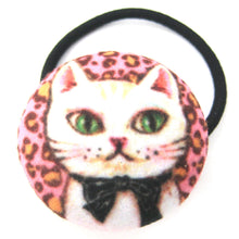 white-kitty-cat-with-bow-tie-button-hair-tie-pony-tail-holder-in-pink-leopard-print